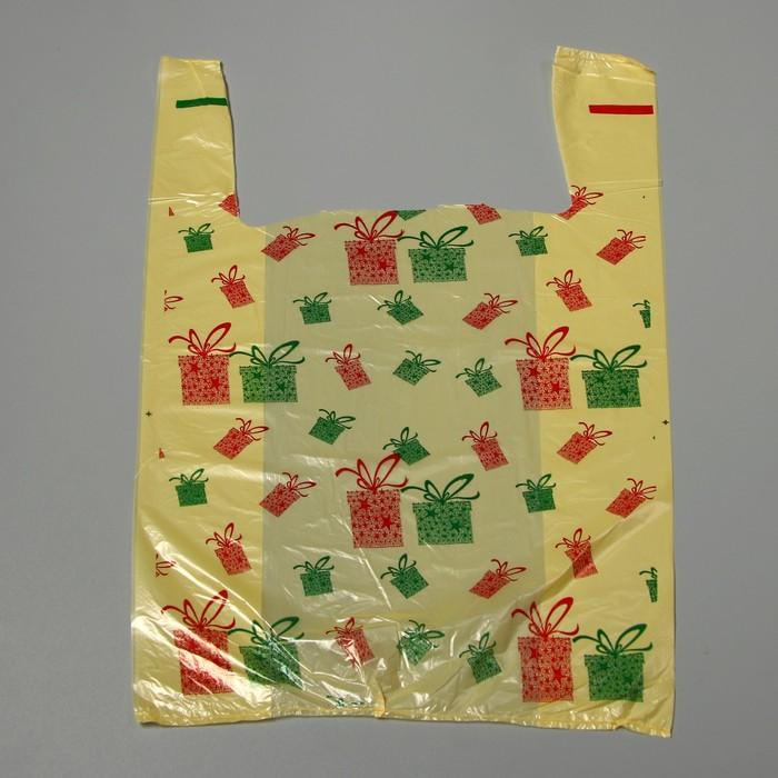 Пакет Новогодний презент, полиэтиленовый майка, 28 х 50 см, 12 мкм
