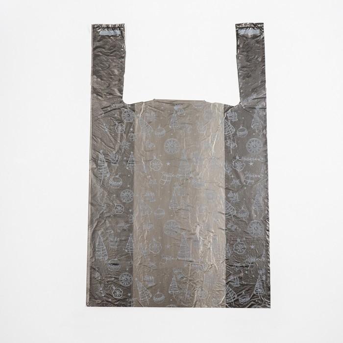 Пакет Золотые снежинки, полиэтиленовый майка, 28 х 50 см, 12 мкм
