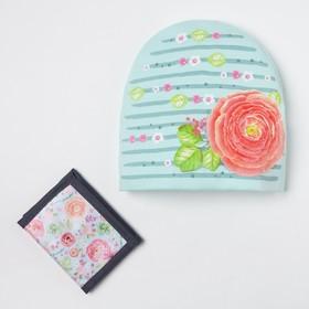 Детский набор Collorista 'Цветок' шапка р-р 54, 100% хб, кошелек 9,5х12 см текстиль Ош
