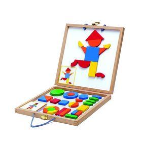 Конструктор магнитный «Геоформ» в деревянной коробке, набор карточек, фигуры