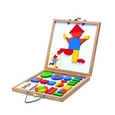Конструктор магнитный «Геоформ» в деревянной коробке, набор карточек, фигуры - Фото 1