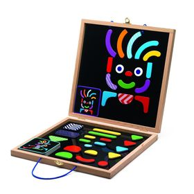 Конструктор магнитный «Гео человечки» в деревянной коробке, набор карточек, фигурки