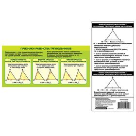 Шпаргалка обучающая 'Признаки равенства треугольников' Ош