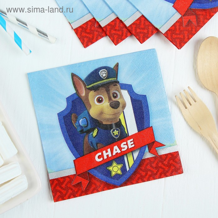Салфетки бумажные «Щенячий патруль», 25х25, набор 16 шт.