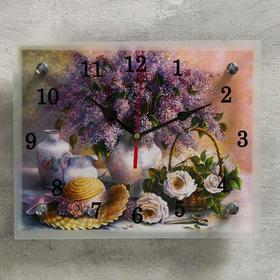 """Часы настенные, серия: Цветы, """"Сирень в вазе"""", 20х25  см, микс"""