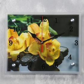 """Часы настенные, серия: Цветы, """"Желтые орхидеи на камнях"""", 20х25  см, микс"""