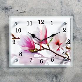 """Часы настенные, серия: Цветы, """"Бело-сиреневые цветы"""", 20х25  см, микс"""