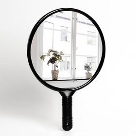 Зеркало с ручкой, d зеркальной поверхности 24,5 см, цвет чёрный Ош