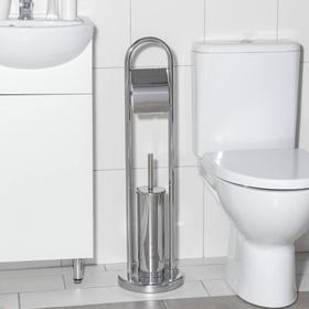 Ёрш для унитаза с подставкой напольный, 22×22×83 см, с держателем для туалетной бумаги, цвет хром Ош