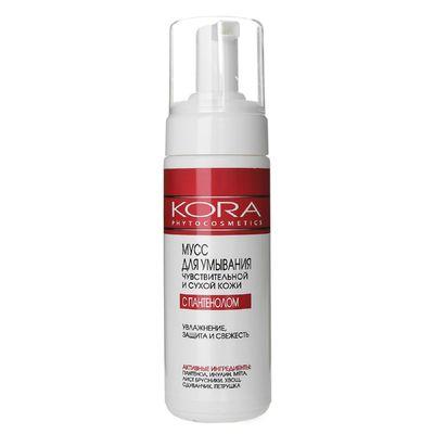 Мусс Kora для умывания чувствительной и сухой кожи с пантенолом, 160 мл