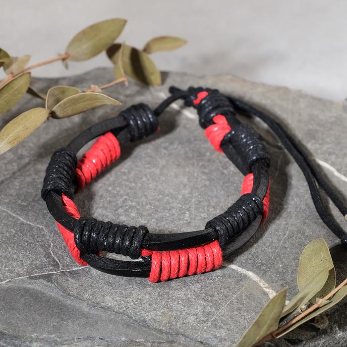 """Браслет унисекс """"Сила"""" плетение, цвет чёрно-красный, d=7 см"""