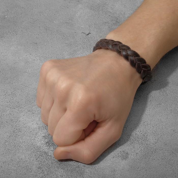 """Браслет мужской """"Сила"""" косичка, цвет коричневый, d=6,5 см"""