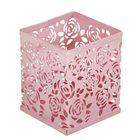 Стакан для пишущих принадлежностей, квадратный, узор, металлический, розовый
