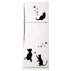 Декоративная цветная наклейка на холодильник из винила «Кошки» Ош