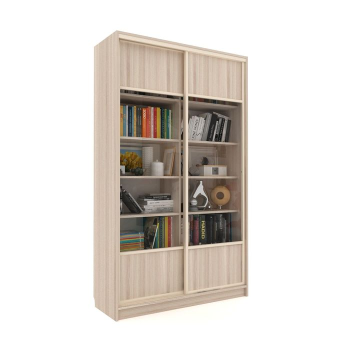 Библиотека-купе Вместительная 2 стекло+ЛДСП Ясень Шимо Светлый
