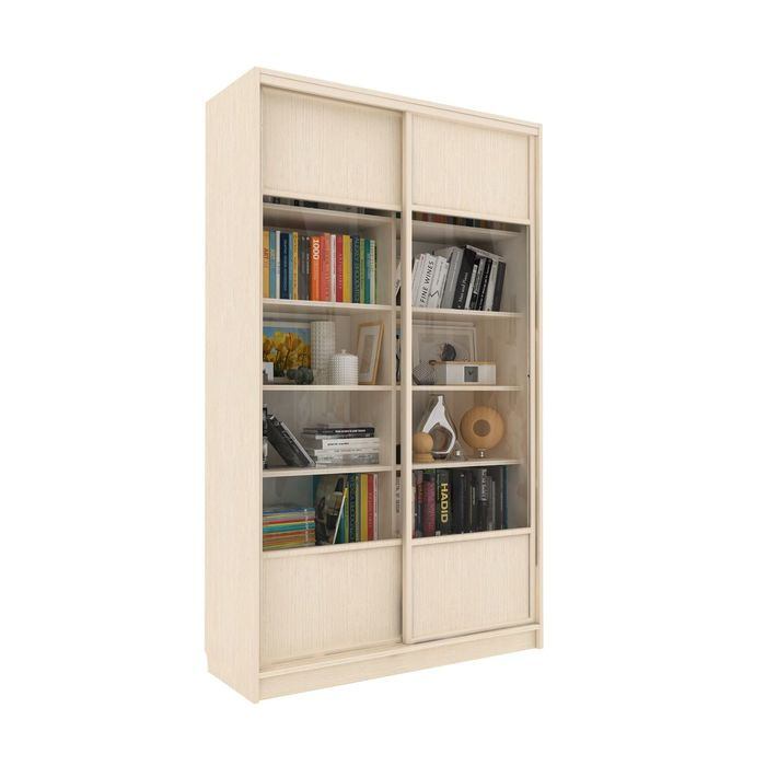 Библиотека-купе Вместительная 2 стекло+ЛДСП Венге Светлый