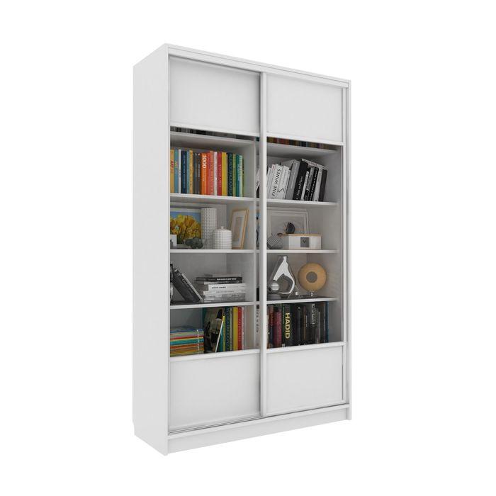 Библиотека-купе Вместительная 2 стекло+ЛДСП Белый