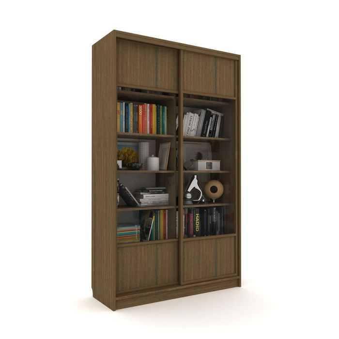 Библиотека-купе Вместительная 2 стекло+ЛДСП Венге Темный