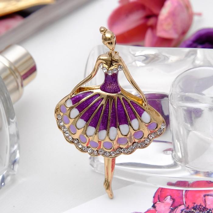 """Брошь """"Балерина"""", цвет фиолетовый в золоте"""