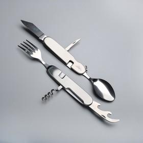 Набор туриста 4в1: нож, вилка, ложка, открывалка Ош