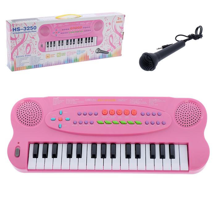 """Синтезатор """"Музыкант"""", розовый, с микрофоном, работает от батареек, 32 клавиши."""