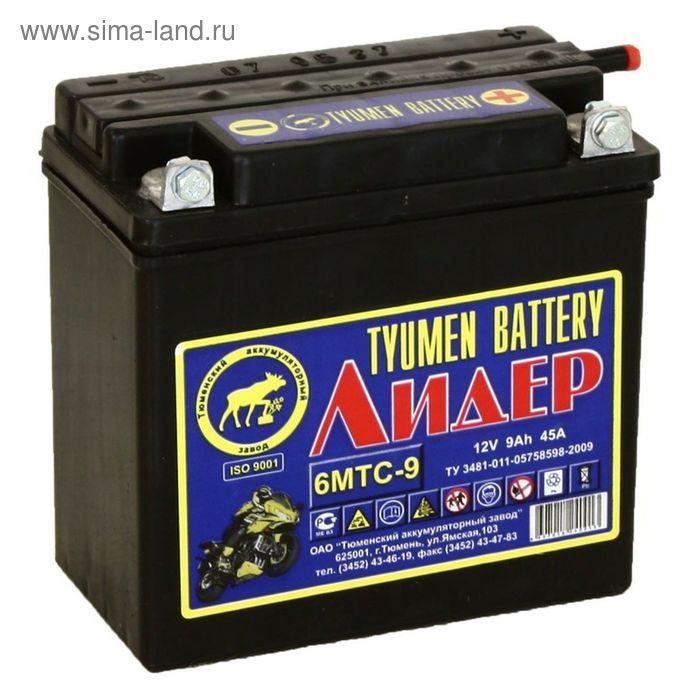 Аккумуляторная батарея Тюмень 9 Ач 12 Вольт 6МТС-9 Лидер, болт