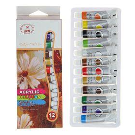 Краски акриловые, 12 цветов, в пластиковой тубе, 9 мл, в картонной коробке
