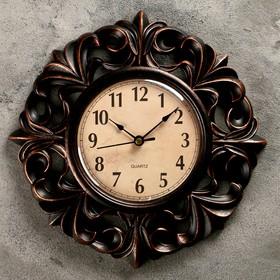 Часы настенные, серия: Интерьер, 'Тёмные лилии', d=25 см Ош