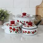 """Набор посуды """"Рамо"""", 3 предмета: кастрюли 2 л, 3,5 л; ковш 1,5 л, цвет белый"""