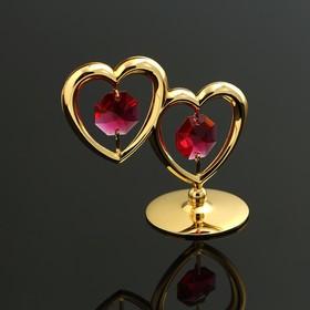 Фигурка 'Два сердца' с 2 красными хрусталиками Ош
