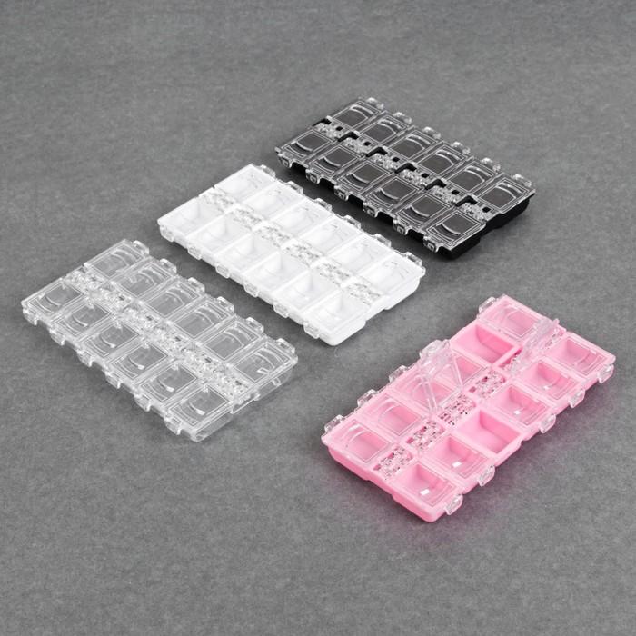 Контейнер для декора, 12 ячеек, 13,2 × 7,5 × 1,2 см, цвет МИКС