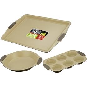 Набор для выпечки CALVE, 3 предмета: противень 44х30 см, форма для 6 кексов 30x19, форма для пирога