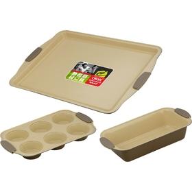 Набор для выпечки CALVE, 3 предмета: противень 44х30 см, форма для 6 кексов 30x19, форма для кекса 2