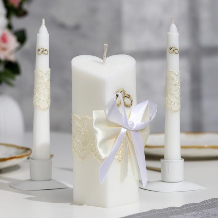 """Набор свечей """"Кружевной"""", цвет шампань : Домашний очаг 6.8х15см, Родительские свечи 1.8х17.5см   162"""