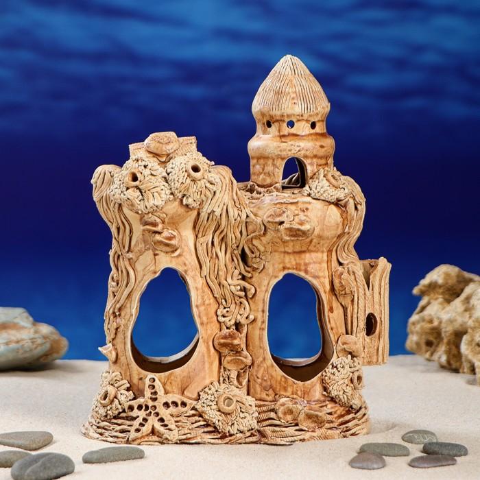 """Декорация для аквариума """"Замок с морской звездой"""", 10 х 17 х 21,5 см"""