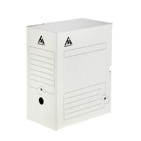 Короб архивный А4, 150мм, микрогофрокартон, картонный клапан, белый