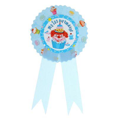 Значок «1 день рождения», клоун, голубой цвет