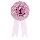 Значок «1», бантик, розовый цвет