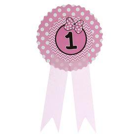 Значок '1' бантик, розовый цвет Ош