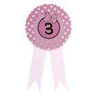 Значок «3», бантик, розовый цвет