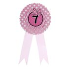 Значок «7», бантик, розовый цвет