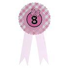 """Значок """"8"""" бантик, розовый цвет"""