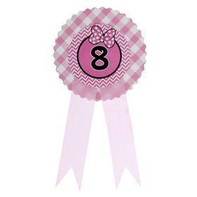Значок '8' бантик, розовый цвет Ош