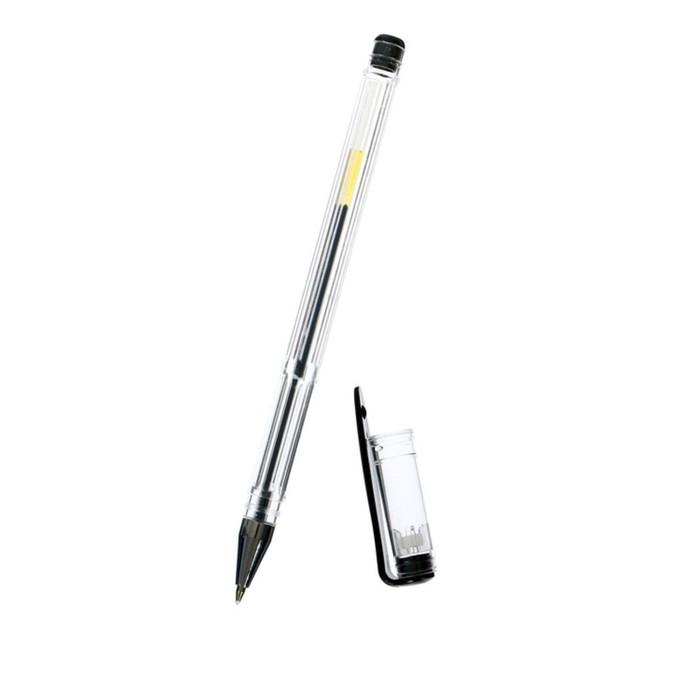 Ручка гелевая, 0.5 мм, чёрный стержень, прозрачный корпус