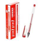 Ручка гелевая, 0.5 мм, красный стержень, прозрачный корпус