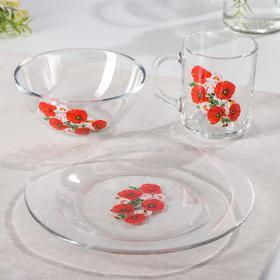 Набор для завтрака «Маки», 3 предмета: тарелка d=19,5 см, кружка 200 мл, миска 250 мл, d=13 см