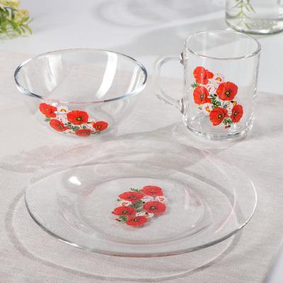 Набор для завтрака GiDGLASS «Маки», 3 предмета: тарелка d=19,5 см, кружка 200 мл, миска 250 мл d=13 см