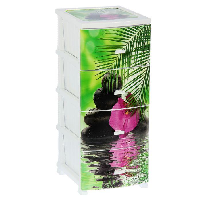 Комод 4-х секционный «Декор. Орхидея», цвет белый
