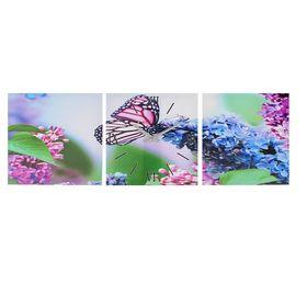 Часы-картина настенные, серия: Цветы, 'Бабочка на ветке сирени', 35х105  см, микс Ош