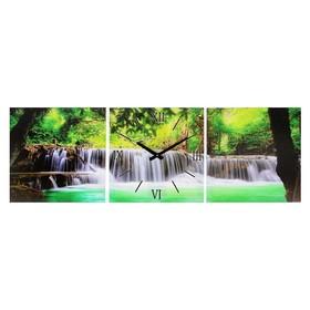 Часы-картина настенные прямоугольные «Водопад в джунглях», 35 × 105 см Ош